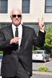Vuxen hög manlig politiker Winner royaltyfri foto