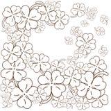Vuxen sida för färgläggningbok leaf för växter av släkten Trifolium fyra Hand tecknad vektorillustration Royaltyfri Fotografi