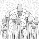 Vuxen sida för färgläggningbok Magiska champinjoner arbeta i trädgården den nyckfulla linjen konst Arkivbilder