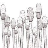 Vuxen sida för färgläggningbok Magiska champinjoner arbeta i trädgården den nyckfulla linjen konst illustratören för illustration Royaltyfri Foto