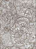 Vuxen sida för färgläggningbok för vuxna människor eller ungar Svart vektorillustrationmall med fantastiska blommor Royaltyfria Bilder