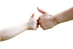 vuxna barnhänder Royaltyfria Foton