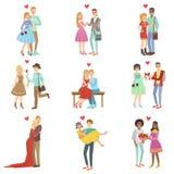 Vuxna människan kopplar ihop förälskat stock illustrationer