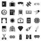Vuxna människan spelar symboler ställde in, enkel stil royaltyfri illustrationer