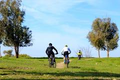 Vuxna män som rider cyklar Fotografering för Bildbyråer