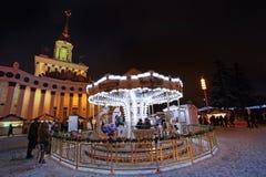 VVC (前HDNH)公园在冬天夜,莫斯科 免版税库存照片