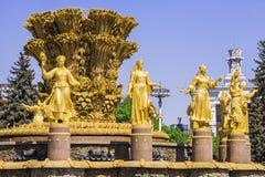人民的喷泉友谊VVC的,莫斯科,俄罗斯 库存图片