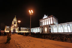 VVC (former HDNH) exhibition centre in winter night , Moscow Royalty Free Stock Images