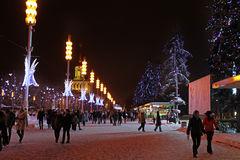 VVC (former HDNH) park in winter night, Moscow Royalty Free Stock Photography