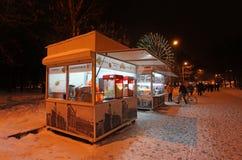 VVC (HDNH anterior) parque en noche del invierno, Moscú Imagen de archivo libre de regalías