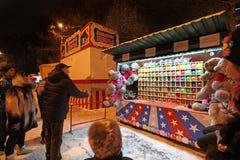 VVC (HDNH anterior) parque en noche del invierno, Moscú Imagen de archivo