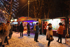 VVC (HDNH anterior) parque en noche del invierno, Moscú Fotografía de archivo libre de regalías