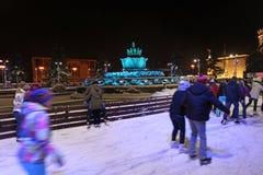 VVC (HDNH anterior) parque en noche del invierno, Moscú Fotos de archivo