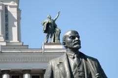 VVC, Main pavillion and Lenin monument Royalty Free Stock Photography