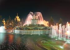 VVC (poprzedni VDNH) nocą Kamienna kwiat fontanna moscow Fotografia Stock