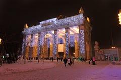 VVC (precedente HDNH) parco nella notte di inverno, Mosca Immagini Stock Libere da Diritti
