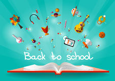 Vector illustration Back to school. Open book with school accessories Stock Photos