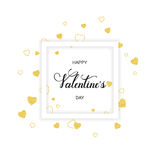 Vvector light background with golden hearts and hand drawn words happy Valentine`s in a frame Royalty Free Stock Image