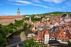 VView of the Cesky Krumlov from the hill, Czech Krumlov, Czech Republic stock image