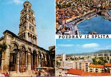 Vintage post card from split, croatia Stock Photography