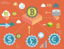 Vvirtual money and currency exchange Stock Photo