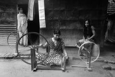 vävstol för handindia industri Arkivbild