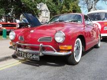 VW类型14在红色的Karmann吉阿小轿车 免版税库存照片