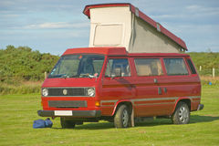 VW autosleeper with elevating roof. stock images