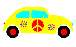 VW Beetle Bug, Hippie Peace Love Symbols Isolated vector illustration