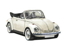 VW Beetle Convertible 1970s. Illustration of a later Volkswagen Beetle Convertible stock illustration