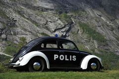 VW Beetle, Historical Norwegian Police Car Stock Photography