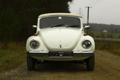 Vw beetle. White retro vw beetle cabriolet royalty free stock image