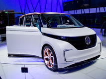 VW BUDD-e Concept Geneva 2016. Geneva, 86th Salon de l`Auto 2016nThe electric Concept van showcases the new MEB electric platform developed by Volkswagen and stock photos