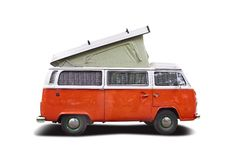 VW camper. Isolated on white Royalty Free Stock Images