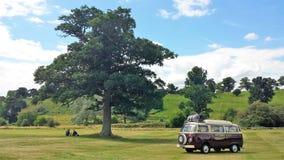 VW-Camper-Paar-Picknick unter einem Baum stockfotografie