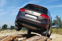 VW car and extreme test-drive Stock Photo