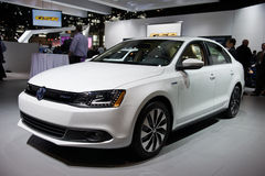 VW at Chicago Auto Show. CHICAGO - FEBRUARY 7: The VW Jetta Hybrid at the 2013 Chicago Auto Show on February 7, 2013. First held in 1901, the Chicago Auto Show royalty free stock images