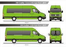 VW Crafter Extra LWB and LWB High Roof Autobus 2011 Blueprint. VW Crafter Extra LWB and LWB High Roof Autobus 2011 Scale 1:10 detailed template in AI Format vector illustration