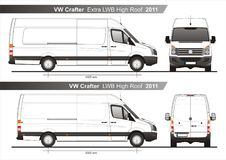 VW Crafter Extra LWB and LWB High Roof Furgon Van 2011 Blueprint. VW Crafter Extra LWB and LWB High Roof Furgon Van 2011 Scale 1:10 detailed template in AI Stock Photos