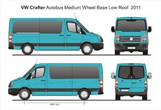 VW Crafter MWB Low Roof Autobus 2011 Blueprint. VW Crafter MWB Low Roof Autobus 2011 Scale 1:10 detailed template in AI Format Royalty Free Stock Photo