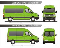 VW Crafter MWB and SWB High Roof Autobus 2011 Blueprint. VW Crafter MWB and SWB High Roof Autobus 2011 Scale 1:10 detailed template in AI Format Royalty Free Stock Image