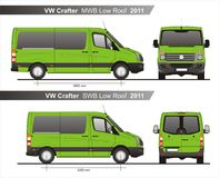 VW Crafter MWB and SWB Low Roof Autobus 2011 Blueprint. VW Crafter MWB and SWB Low Roof Autobus 2011 Scale 1:10 detailed template in AI Format Royalty Free Stock Images