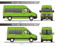 VW Crafter MWB und Dach SWB hoher Plan Autobus-2011 stock abbildung