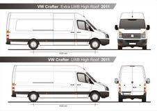 VW Crafter Plan Extra-LWB und LWB hoher Dach Furgon Van 2011 stock abbildung
