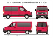 VW Crafter SWB Low Roof Autobus 2011 Blueprint. VW Crafter SWB Low Roof Autobus 2011 Scale 1:10 detailed template in AI Format Stock Image