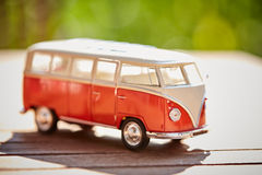 VW figurine bus as a symbol for holiday Royalty Free Stock Images