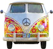 VW Hippie Bus Van Isolated. VW Hippie peace bus van. Psychedelic sixties design, retro vintage style. The transportation vehicle is isolated on white. PNG file royalty free stock images