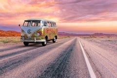 Free VW Hippie Van Bus, Highway, Open Road Stock Photography - 154375012