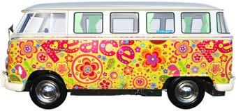Vw-hippiebuss Van Isolated, Volkswagen arkivfoto