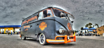 VW Kombi painted in Harley Davidson Colors Stock Photos